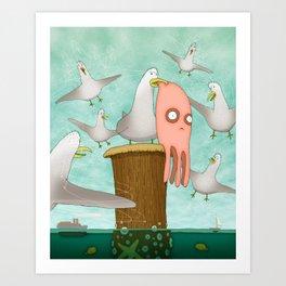Poor Little Calamari Art Print