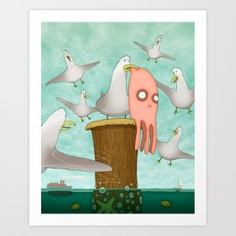 Poor Little Calamari Art Print