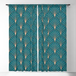 Vintage Art Deco Floral Copper & Teal Blackout Curtain