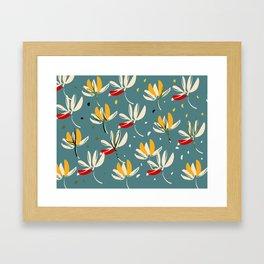 Vanilla flowers on ocean background Framed Art Print