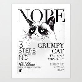 Grumpy the cat Art Print