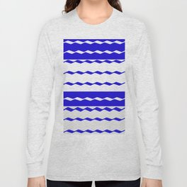 Blue and White WAVE Pattern abstract blue Long Sleeve T-shirt