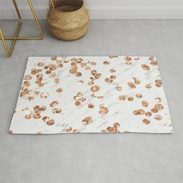 Rose gold crystals - white marble Rug