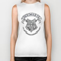 hogwarts Biker Tanks featuring Hogwarts by Cécile Pellerin