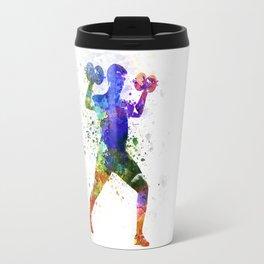 Man exercising weight training Travel Mug