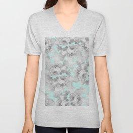 Vintage black white teal stylish chic roses floral Unisex V-Neck