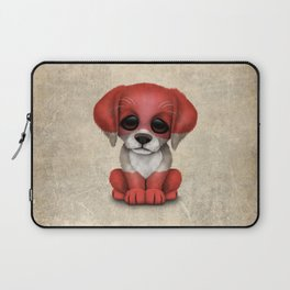 Cute Puppy Dog with flag of Austria Laptop Sleeve