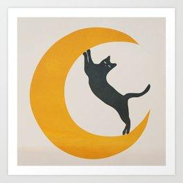 Moon and Cat Art Print