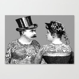 Tattooed Victorian Lovers Canvas Print