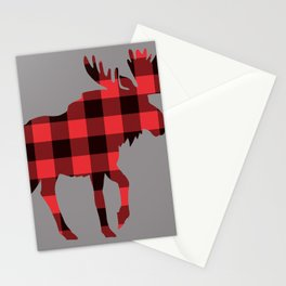 Moose Plaid Pattern Antlers Maine Acadia Rustic Country Wildlife Grey Stationery Cards