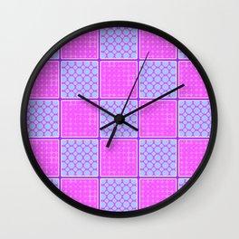 Pink Checks Wall Clock