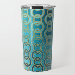 Ocean Blue Watercolor Gold Chain Links Travel Mug