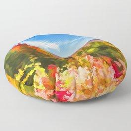 Mountain foliage painting Floor Pillow