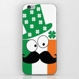 Irish mustache man st.Patty's day iPhone Skin