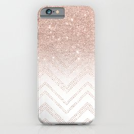 Modern faux rose gold glitter ombre modern chevron stitches pattern iPhone Case
