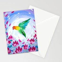 Lovebird phone cover Stationery Cards