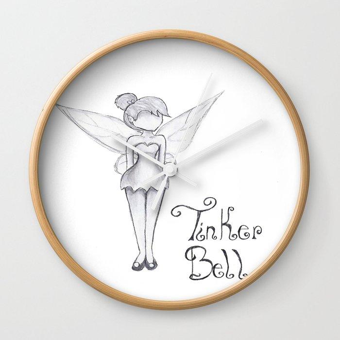 TinkerBell B&W Wall Clock by andribelieve | Society6