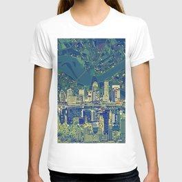 louisville city skyline green T-shirt