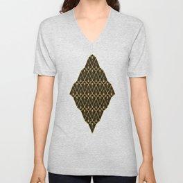 Art Deco Squares and Diamonds of Gold Unisex V-Neck