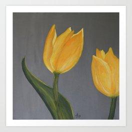 Bright  Yellow Tulips Art Print