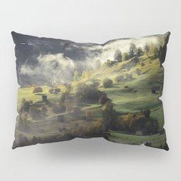 Mountain Village Swept in Fog Pillow Sham