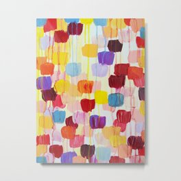 DOTTY - Stunning Bright Bold Rainbow Colorful Square Polka Dots Lovely Original Abstract Painting Metal Print