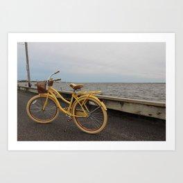 Yellow Beach Bike Art Print