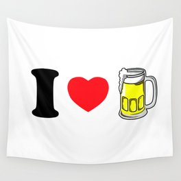 I Heart Beer Wall Tapestry