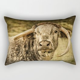 Vintage Longhorn Cattle Rectangular Pillow