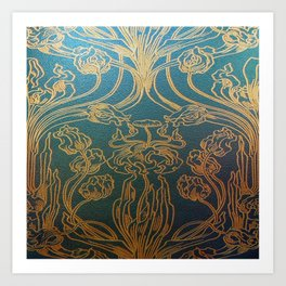 Art Nouveau,teal and gold Art Print