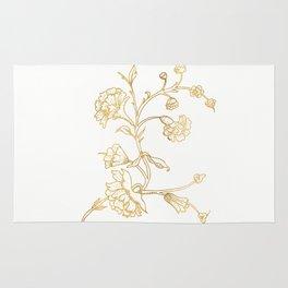 Golden flower on white background . artwork . Rug