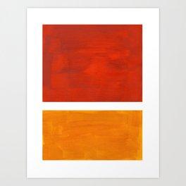 Burnt Orange Yellow Ochre Mid Century Modern Abstract Minimalist Rothko Color Field Squares Art Print