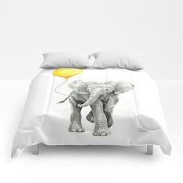 Elephant Watercolor Yellow Balloon Whimsical Baby Animals Comforters