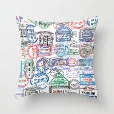 Passport Stamps Throw Pillow