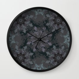 Damask, grey Wall Clock