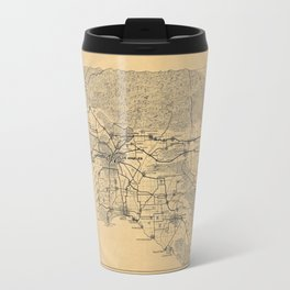 Map of Los Angeles and the San Gabriel Mountains (1915) Travel Mug