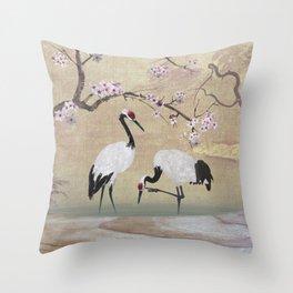 Cranes Under Cherry Tree Throw Pillow