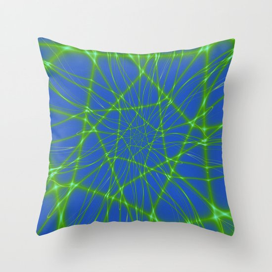 Neon Green Web on Blue Throw Pillow by Objowl Society6
