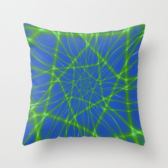 Neon Blue Throw Pillows : Neon Green Web on Blue Throw Pillow by Objowl Society6