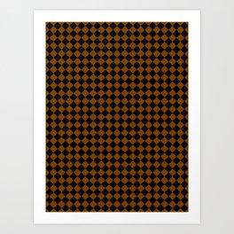 Black and Chocolate Brown Diamonds Art Print