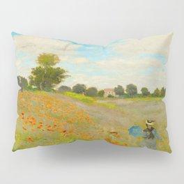 Claude Monet Impressionist Landscape Oil Painting Poppy Field Pillow Sham