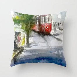 Old Tram in Istanbul Throw Pillow
