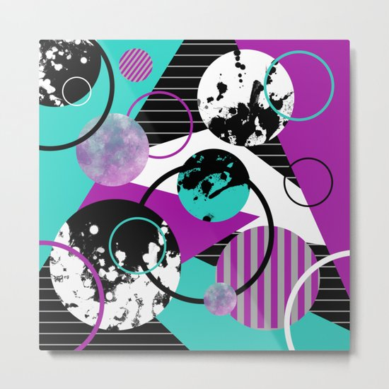 Eclectic Geometric (Abstract blue, purple, black, white) Metal Print