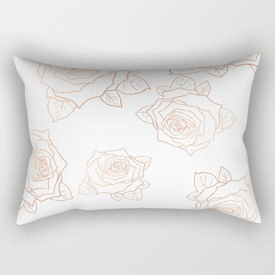 Metallic Roses Rectangular Pillow