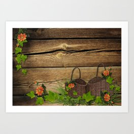 Vintage Shabby Chic Flowers In Rustic Basket Art Print