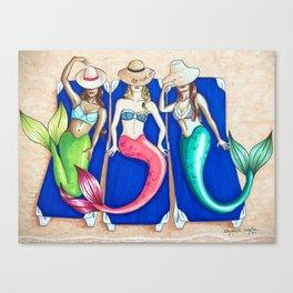 Sunbathing Mermaids Canvas Print
