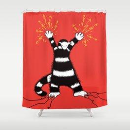 Weird Electro Cat Shower Curtain