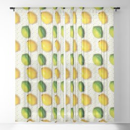 Vintage Lemon and Lime Pattern Sheer Curtain
