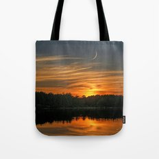 Sunset, Lake, Pine Forest & Crescent Moon Composite Tote Bag