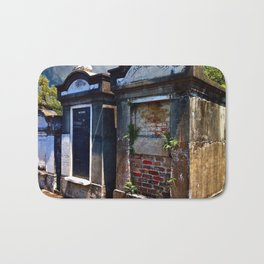 Lafayette Cemetery - Red Brick and Fern Bath Mat
